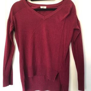 Burgundy high low sweater